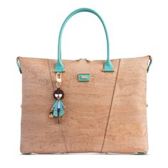 Handbag in Natural Cork and mint colour leather details. Two rolled handles and stripes in. Hands Together, Fashion Marketing, Mint Color, Leather Interior, Cork, Reusable Tote Bags, Product Launch, Stripes, Portugal