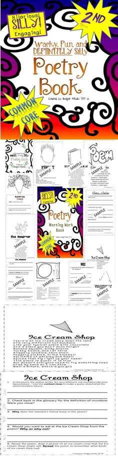 2nd Grade Common Core Poetry Book Super Funny, great for April   20 poems and corresponding questions! $6.50   Hits RL.2.1, RL.2.2, RL.2.3, RL.2.4, RL.2.5, RL.2.6, RL.2.7, RL.2.9!