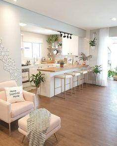 38 creative small kitchen design and organization ideas 21 Home Interior Design, Home Decor Kitchen, Home Living Room, Home Room Design, Kitchen Room Design, Apartment Decor, Home Kitchens, Home, Interior