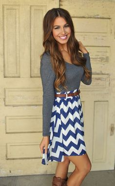 Dottie Couture Boutique - Chevron Dress- Grey/Blue, $46.00 (http://www.dottiecouture.com/chevron-dress-grey-blue/)
