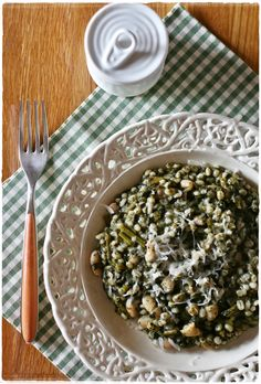 Orzotto with cavolo nero and cannellini beans