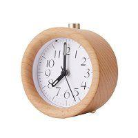 Smileto Creative Classic Mini Round Wood Silent Desk Travel Alarm Clock With Nightlight