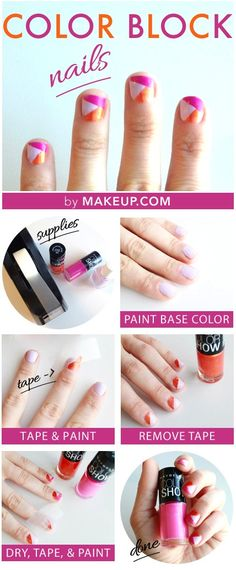 Color Block Nails Tutorial // so cute for summer!