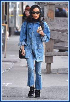 Zoë Kravitz has gone all-out 90s with this light-wash double-denim look