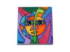 Art piece from Venezuela | Plat doosje, masker kleurrijk multifunctioneel dubbel gesigneerd art doos, masker in stippeltechniek  (JandeQuba.nl)