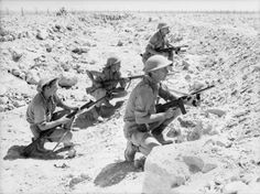 Australian troops of the British Commonwealth Forces man a front-line trench during the Siege of Tobruk; North African Campaign August 1941
