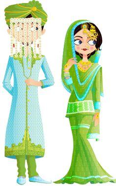 Shadi k din dulha aur umr Bhar dulhan ghughat me rahti h Indian Illustration, Wedding Illustration, Couple Illustration, Wedding Drawing, Wedding Art, Wedding Couples, Bride Cartoon, Wedding Couple Cartoon, Hijab Cartoon