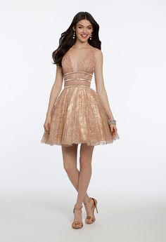 Sparkle in a stunning shortie no matter the season! From the school dance coming up on your calendar to your list of sweet 16 invites, this cute homecoming dress is a closet must have for all occasions. Accessorize with rhinestone heels, teardrop earrings and a metallic rhinestone clutch. #CamilleLaVie