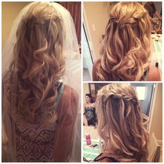 Elegant and simple waterfall braid for bridal hair