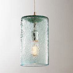 Pebbled Glass Cylinder Pendant Clear tinted pebbled glass provides texture and interest. Available in Sky Blue, Clear and Lime. Glass Pendant Shades, Glass Pendant Light, Glass Pendants, Pendant Lights, Pendant Lamps, Kitchen Pendant Lighting, Kitchen Pendants, Strip Lighting, Home Lighting