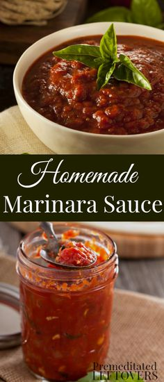 This Homemade Marinara Sauce Recipe can be made with fresh tomatoes and herbs or with whole canned tomatoes. Includes how to batch cook marinara sauce so you always have some on hand for to make a simple dinner recipe o busy nights. You can use this veget Canning Marinara Sauce, Homemade Marinara, Homemade Sauce, Marinara Recipe, Spagetti Sauce, Spaghetti, Chutneys, Pizza Recipes, Sauce Recipes