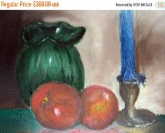 SALE original oil paintingstill lifeapple and by VintageAnd4All