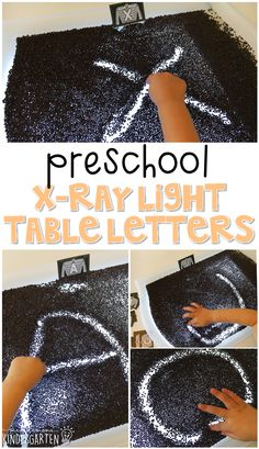 This x-ray light table is a fun way to practice letter writing with a human body theme. Great for tot school, preschool, or even kindergarten! Doctor Theme Preschool, Body Preschool, Preschool Letters, Preschool Curriculum, Preschool Themes, Preschool Science, Preschool Lessons, Preschool Classroom, Preschool Plans