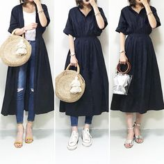 Pin by Sky on リメイク Modest Outfits, Trendy Outfits, Cute Outfits, Skirt Fashion, Fashion Outfits, Womens Fashion, Fashion Trends, Spring Fashion, Autumn Fashion
