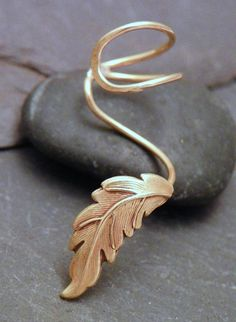 Golden Leaf Ear Cuff -  AUTUMN LEAF  - Handcrafted Brass Earcuff
