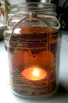 Glass jar tea light