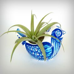 Ceramic Bird Planter Cerulean Blue Aqua White Winter by sewZinski