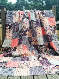 Hey, I found this really awesome Etsy listing at https://www.etsy.com/listing/162203225/king-rag-quilt-rock-n-romance-in