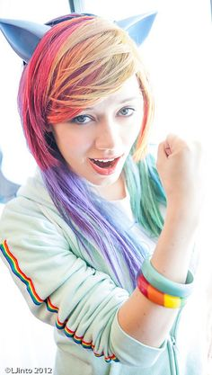 Rainbow Dash cosplay!!  I think this would be the cutest costume to make for halloween