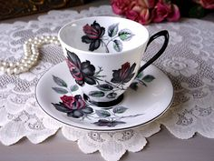 Royal Albert MASQUERADE Tea Cup and Saucer, Black Roses with Red Tips, Smooth Shape, Roses Teacup Set, Replacement China, Vintage 1950s