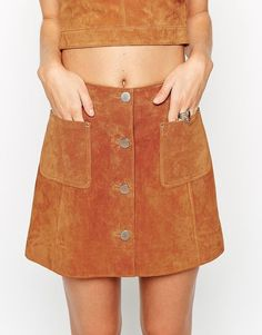 Pin for Later: Trending Outfits to Up Your Summer Fashion Game  ASOS Button Through A-Line Suede Skirt ($95)