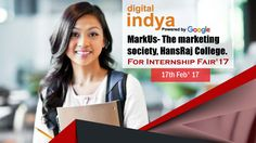 Don't just sit at your home and ponder. Do something and chase your passion. Digital Indya at #MarkUsThemarketingsocietyHansRajCollege is ready for the #Internship Fair, which is going to be held on 17 Feb 2017