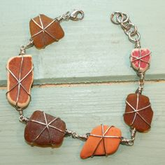 Beach Shack Project - surgical stainless steel wire wrapped sea glass and pottery bracelet. £16
