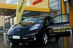 Nissan LEAF posed outside IKEA store in Milan, Italy. Hertz now renting the electric car in Milan.