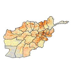 Population map.  The darker the area the more people.  Most of the people in Afghanistan live in the areas closest to Kabul, or where crops prosper and animals can be raised.
