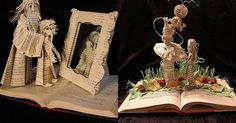 Beloved literary characters emerge from the pages of these delicate book sculptures