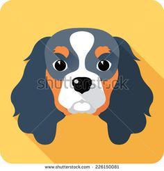 Vector dog Cavalier King Charles Spaniel icon flat design