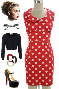 Brand new in store at Le Bomb Shop! Find it here: http://www.ebay.com/itm/50s-Style-Red-POLKA-Dot-MINNIE-Mouse-esque-PINUP-Dress-PETER-PAN-Collar-/140925154062?pt=US_CSA_WC_Dresses==item66786a59bf