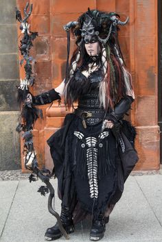 My Necromancer Cosplay Outfit. Costume, mask, staff & makeup: selfmade. #cosplay #necromancer #shaman #gothic #wgt
