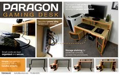 After glance at the wooden paragon gaming desk design photo slowly maybe you will take few different suggestion to be realized on your own design. Gaming Desk Designs, Storage Shelves, Shelving, Gaming Computer Desk, Nerd Decor, Pc Table, Desktop Storage, Pc Desk, Future Office