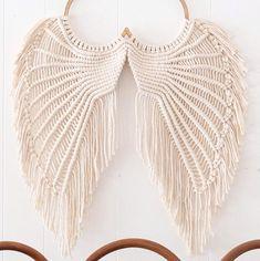 Angel Wings Macrame- Macrame Wallhanging- Angel Wings Wall Decor- Angel Wings Art- Macrame Wall Deco Source by etsy Diy Macrame Wall Hanging, Macrame Curtain, Macrame Art, Macrame Projects, Etsy Macrame, Macrame Mirror, Crochet Dreamcatcher, Angel Wings Art, Angel Wings Wall Decor