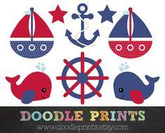 Imágenes Prediseñadas náutica - Clip Digital Art - veleros, ballena, ancla - rojo y Marina náutica / / marina de guerra y de la luz azul - Personal y comercial