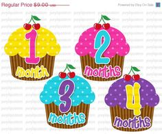 SALE Baby Month Stickers - Original Seller of  Onesie Stickers....Cutest Cupcakes....Original Seller....UNCUT PLEASE Read