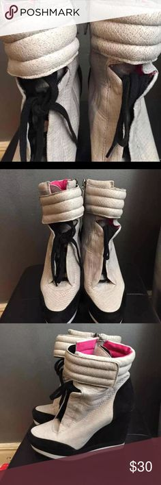 High top sneakers wedge booties Boutique 9 by Nine West jest like new Nine West Shoes Ankle Boots & Booties