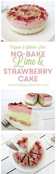 No-Bake Lime Strawberry Cake. Vegan, Gluten-free, No Refined Sugar :)