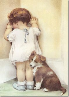 """""""Mama Thought Bessie Needed to be Taught a Lesson so She Told Her to Stand in the Corner. She Wasn't Really Very Angry Though and Gave Bessie a Reprieve After Only Five Minutes."""", by American artist - Bessie Pease Gutmann Images Vintage, Vintage Cards, Vintage Postcards, Vintage Pictures, Bessie Pease Gutmann, Vintage Illustration, Vintage Children, Vintage Prints, Illustrators"""