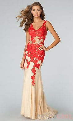 Floor Length Sleeveless Lace Embellished JVN by Jovani Dress at PromGirl.com
