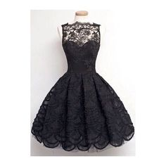 Rotita Sleeveless Solid Black Lace Skater Dress ($25) ❤ liked on Polyvore featuring dresses, black, knee-length dresses, vintage black dress, vintage day dress, vintage dresses and black a line dress