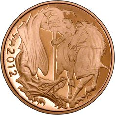 Minting of the gold sovereign began in 1817. It is a bullion coin, but rare and older dates can hold a numismatic value. The 2012 coin in this image has the St George and the Dragon obverse. produced to mark the Queen's Diamond Jubilee.