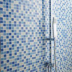 Mosaïque mur Shaker mix bleu 2.3 x 2.3 cm Shaker, Sink, Parents, Apartment Bathroom Design, Style, Beige Bathroom, Wall Tiles, Blue, Marble