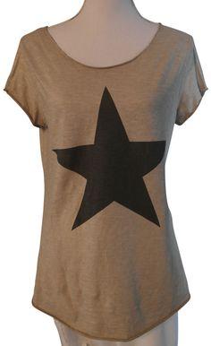 Impressionen shirt T-Shirt kurzarm beige Stern grau silber 38 40
