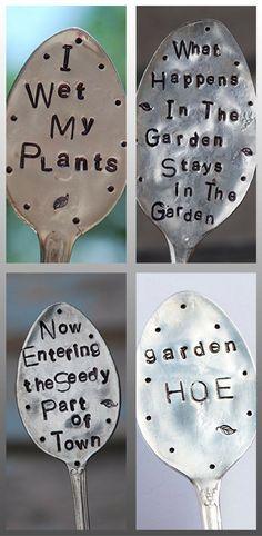 Stamped spoon garden markers. Vegetable garden markers ideas #vegetablegardendesign #gardenplanters