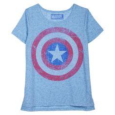 Junior's Captain America Shield Graphic Tee Blue - Marvel