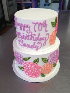 Flower outline spring colored 70th birthday cake. Wild Flour Bakery. Decorated by @Darrelle Anne