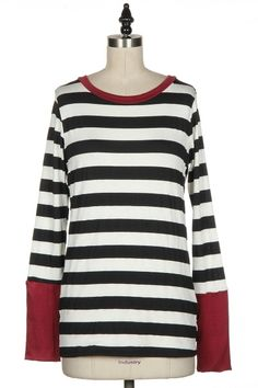 STRIPED LONG SLEEVE TOP WITH CONTRAST NECKLINE & CUFFS.