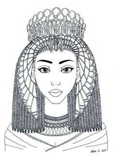 African Queen Adult Coloring Page African Drawings, African Art, Coloring Book Pages, Coloring Sheets, Ancient Egypt For Kids, Princess Coloring, Egyptian Art, Egyptian Drawings, Copics